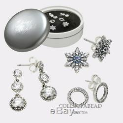 Authentic Pandora Sterling Silver Stud & Dangle Earrings Gift Set B800706