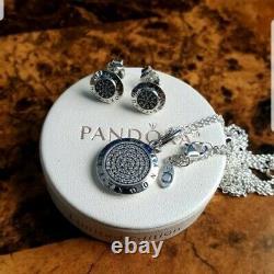 Authentic pandora signature big pendant necklace earrings set gift present 925