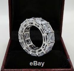 Awesome 8MM Emerald Cut Fully Eternity Wedding Band Ring 925 Silver Party Gift