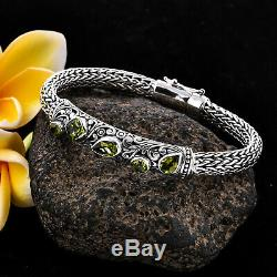 BALI LEGACY 925 Sterling Silver Peridot Bracelet Jewelry Gift Size 8 Ct 3.6