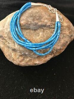 BLUE Denim Lapis Heishi Sterling Silver Bracelet Gift 7 5 St 8605