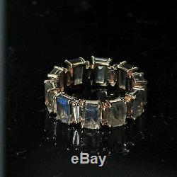 Baguette Cut Natural Diamond Labradorite Band Ring 14k Yellow Gold Jewelry GIFTS