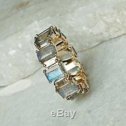 Baguette Cut Natural Diamond Labradorite Band Ring 14k Yellow Gold Jewelry GIFTS