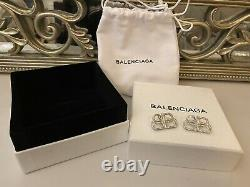 Balenciaga BB Silver Diamond Small Stud Earrings With Gift Box