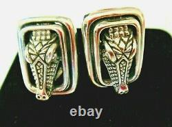 Barry Kieselstein Cord VTG Alligator Sterling Silver Omega-back Earrings Gift Bx