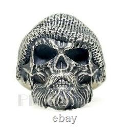 Bearded Skull 925 Sterling Silver biker rider oxidized Men's ring jewelry Gift