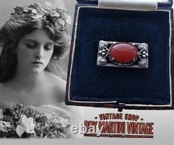 Bernard Instone Art Nouveau Sterling Silver Carnelian Brooch Pin Beautiful Gift