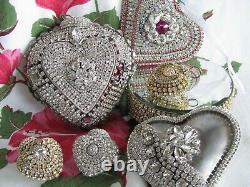 BiG cHic viNtage AB RhiNeStoNe JEWELRY piNk HEART Valentine's Ornament hANdmAde