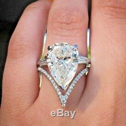 Big 5.60ct Pear Cut White Diamond Engagement Wedding Ring Set In 925 Silver Gift
