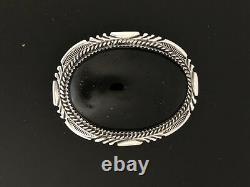 Black Onyx Sterling Silver Belt Buckle Bolo Set AJ Navajo Wedding Gift Heavy A34