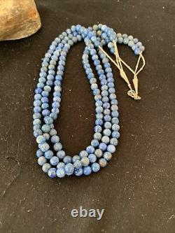 Blue Lapis Bead Liquid Silver Heishi 3S Sterling Silver Tubes Necklace Gift 852