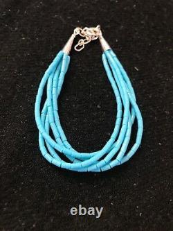 Blue Turquoise Heishi Sterling Silver Bracelet Gift 7 5 St 8604