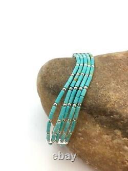Blue Turquoise Heishi Sterling Silver Bracelet Gift 7 5 St 8885