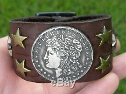 Bracelet Bison leather various dates Morgan one dollar coin nice gift him her