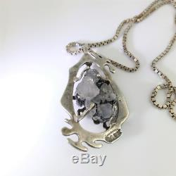 Brutalist Druzy Hallmarked Sterling Silver Pendant Vintage Anniversary Gift