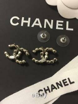 CHANEL ACCESSORY Earrings Rhinestone Silver Coco Mark AUTHENTIC GIFT FRANCE