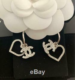 CHANEL ACCESSORY Earrings Silver Heart Coco Mark AUTHENTIC GIFT FRANCE