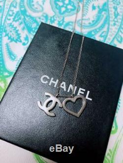 CHANEL ACCESSORY Necklace Heart CC Mark Silver AUTHENTIC GIFT USED from Japan