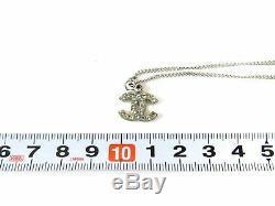 CHANEL CC Logo Silver Chain Pendant Choker Necklace Jewelry Gift Auth