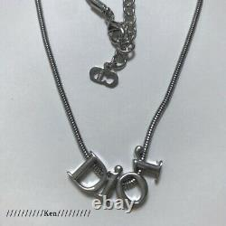 CHRISTIAN DIOR Necklace Pendant Chain AUTH Logo Silver CD Kawaii Gift F/S SN7