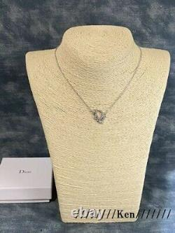 CHRISTIAN DIOR Necklace Pendant Chain AUTH Logo Silver Color CD Gift F/S SN5