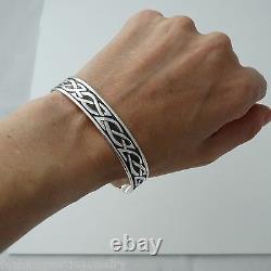 Celtic Knot Cuff Bracelet 925 Sterling Silver Irish Gift Love Unisex NEW