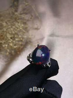 Certified Natural Black Opal Gemstone 925 Sterling Silver Ring Women Gifts