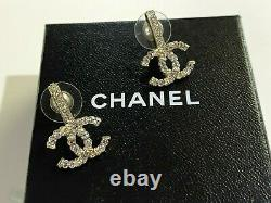 Chanel CC Auth Silver Gold Tone Crystals Stud Earrings in Box Gift Bag MINT