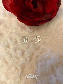 Chanel CC Logo Silver Tone Small Crystal Rhinestone Stud Earrings VIP Gift