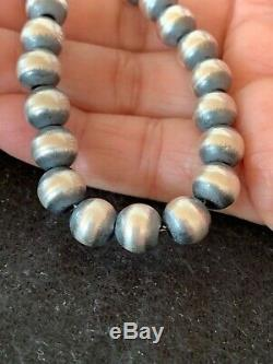 Childrens Petite Gift Navajo Pearls 8mm Sterling Silver Bead Necklace 15 4323