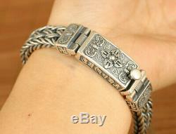 Chinese 925 Silver pray Buddha jewel Bracelet Fashion decoration noble gift