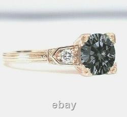 Christmas Gift 1 Ct Certified Grey Moon Light Moissanite Diamond Ring 925 Silver