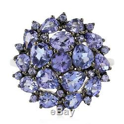 Christmas Gift Cluster Ring Tanzanite Sterling Silver Jewelry ING-6685