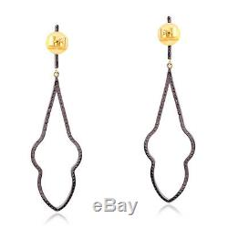 Christmas Gift Pave Diamond 14k Gold Dangle Earrings 925 Sterling Silver Jewelry