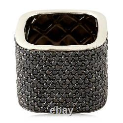 Christmas Gift Sterling Silver Natural Black Pave Diamond Band Ring Jewelry