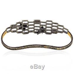 Christmas Gift Vintage Look Emerald Gold Sterling Silver Diamond Palm Bracelet