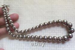 Chunky Vtg Taxco Unisex Gift70's Sterling Silver Bead 17.5 NecklaceFree Ship