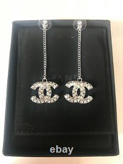 Classic Chanel CC Crystals Dangle Dress Earrings vip gift