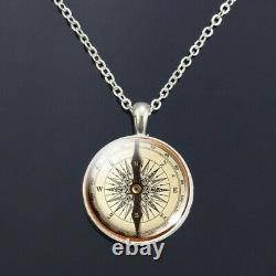 Classic Vintage Style Compass Necklace Hiking, Travel, Camping Gift Silver