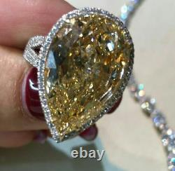 Cocktail Party Ring Inspired 925 Sterling Silver Yellow Pear Big Jewelry Gift Nw