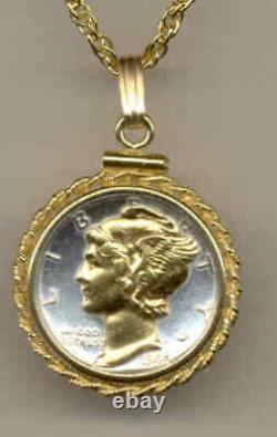 Coin Jewelry US Mercury Dime Necklace Gold On Silver Pendant Bezel Holiday Gift