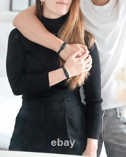 Couples Bond Touch Black Bracelets His Hers Gift Set Pair Grow Closer Together