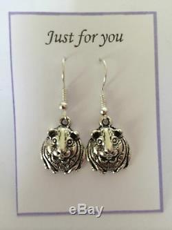 Cute Guinea Pig Hamster Earrings Silver plated hook Animal birthday Gift Present