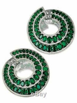 Dangle Wedding Earring Solid Sterling Silver 925 Jewelry Women Green Oval Gift