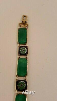 David Andersen Norway Sterling Silver Enamel Bracelet Green Vintage Gift Box