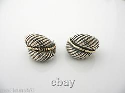 David Yurman Silver 18K Gold Cable Round Earrings Rare Gift Love