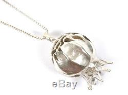 Designer Jewelry Pomegranate Necklace Full Round Pendant 925 Silver Judaica Gift