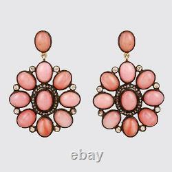 Diamond Pave 925 Silver Dangle Earrings Opal Gemstone 14K Gold Fine Gift Jewelry