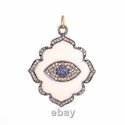 Diamond Pave 925 Sterling Silver Evil Eye Pendant 14K Gold Vintage Gift Jewelry