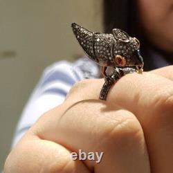 Diamond Pave Bird Wedding Ring 925 Sterling Silver Ruby Anniversary Gift Jewelry
